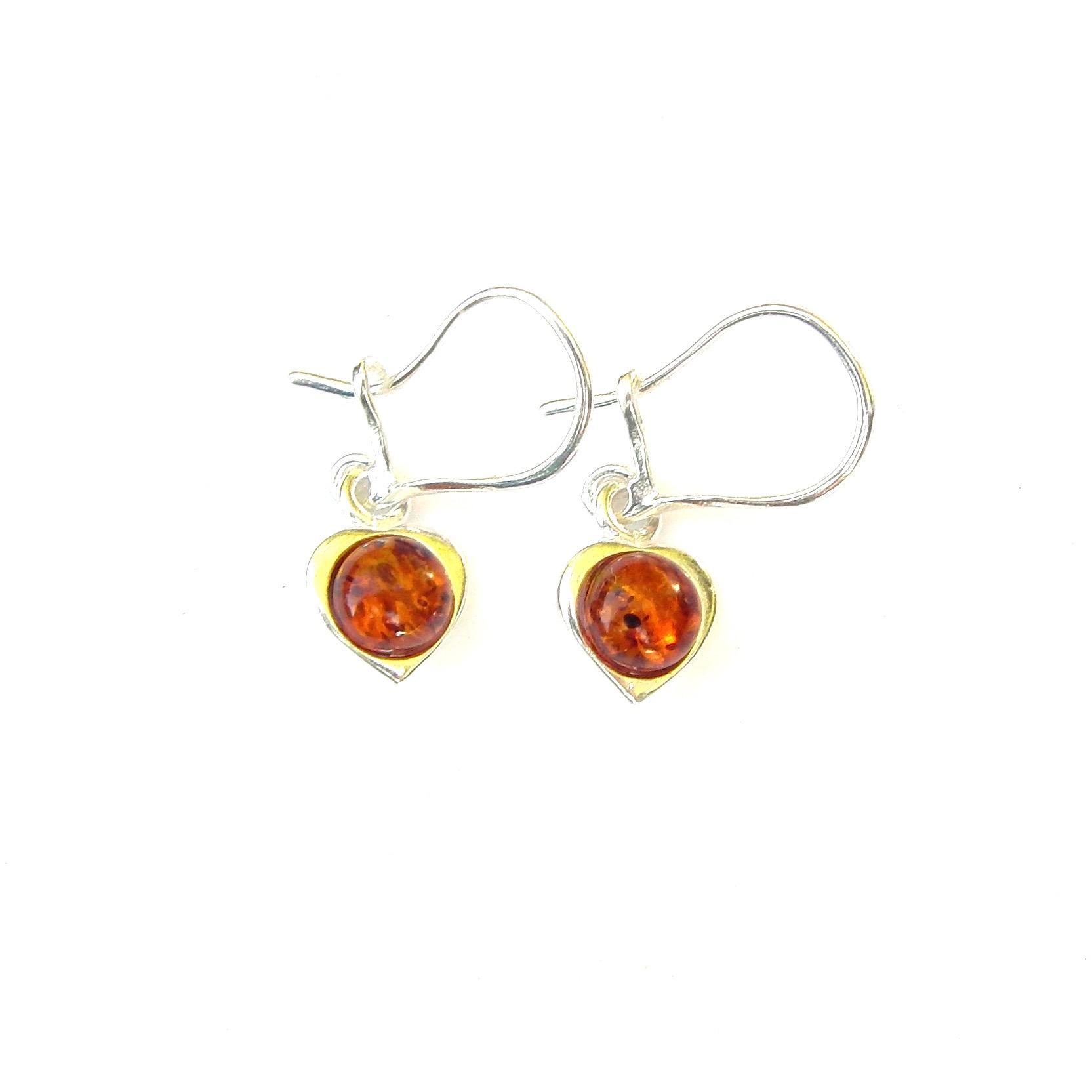 Beautiful Amber Heart Earrings