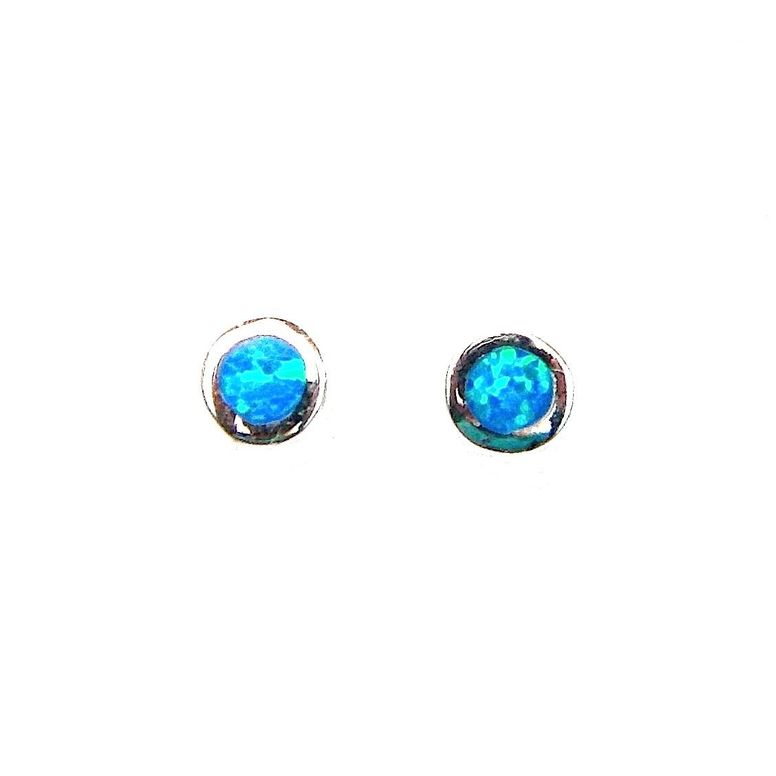 Blue Opal Round Studs