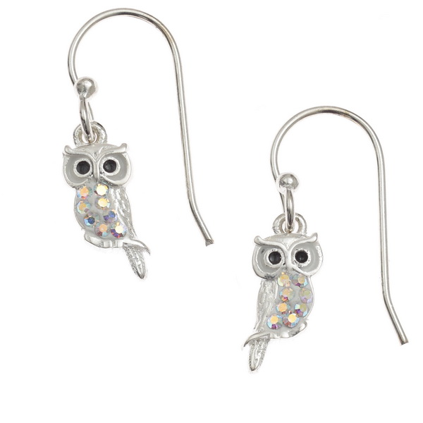 Pretty AB Crystal Owl Earrings