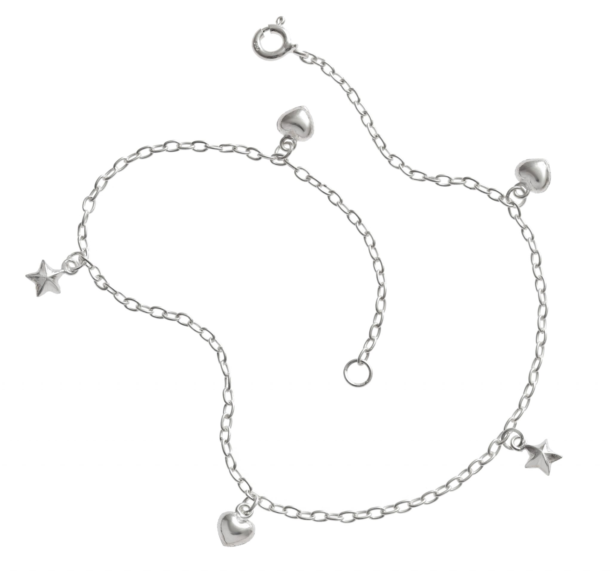 Hearts and Stars Silver Anklet.