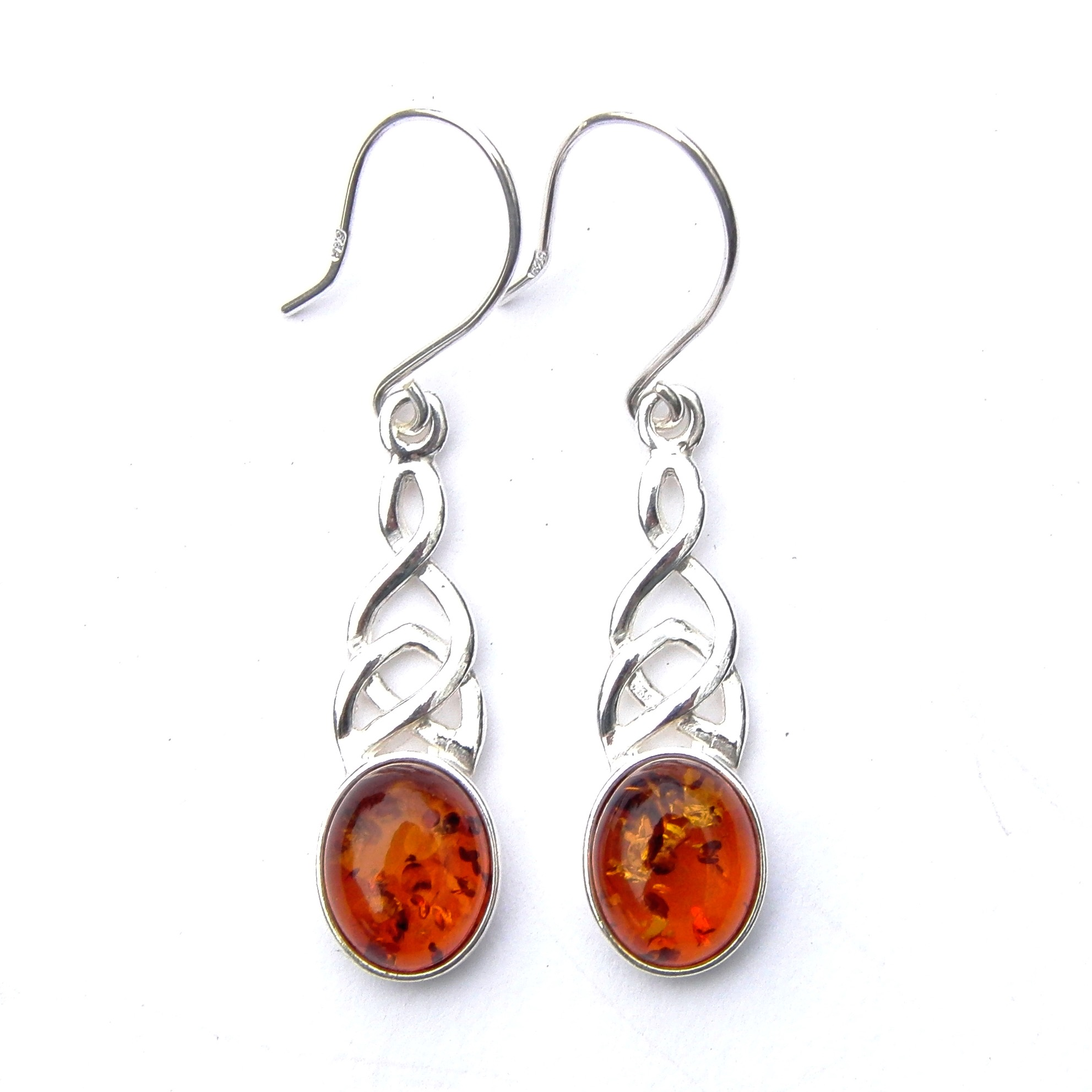 Beautiful Amber Celtic Knot Earrings