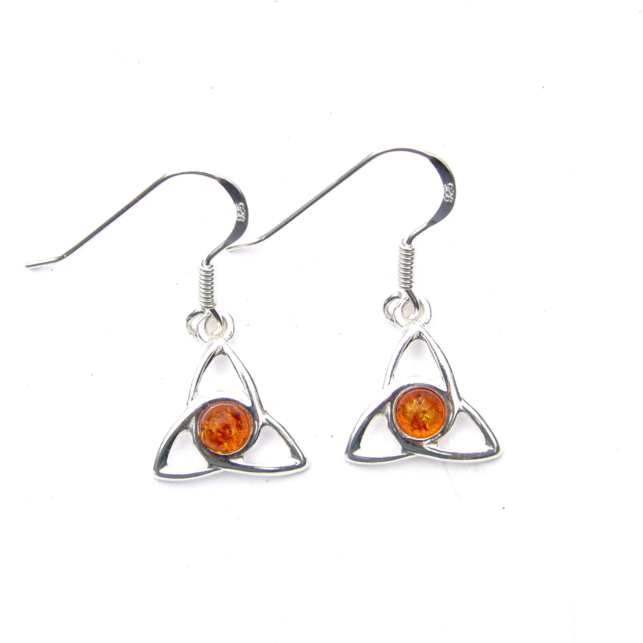 Beautiful Amber Goddess Triquetra Earrings