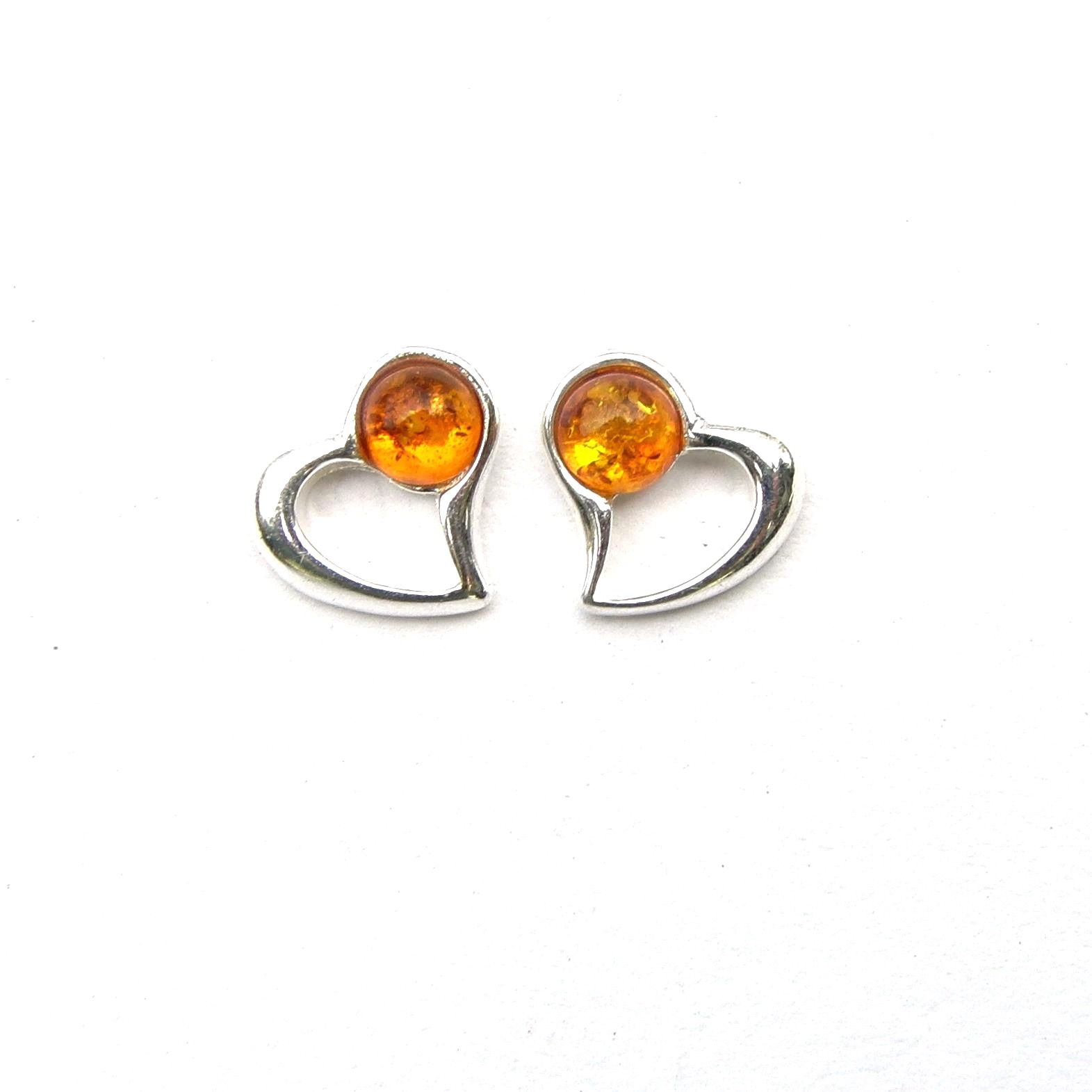 Beautiful Amber Heart Studs