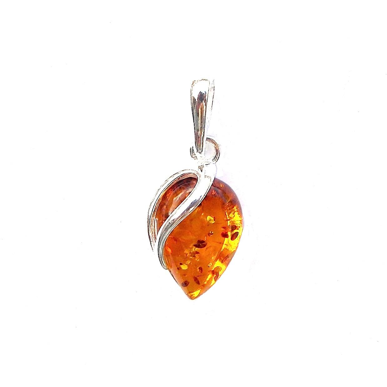 Beautiful Amber Inverted Teardrop Pendant