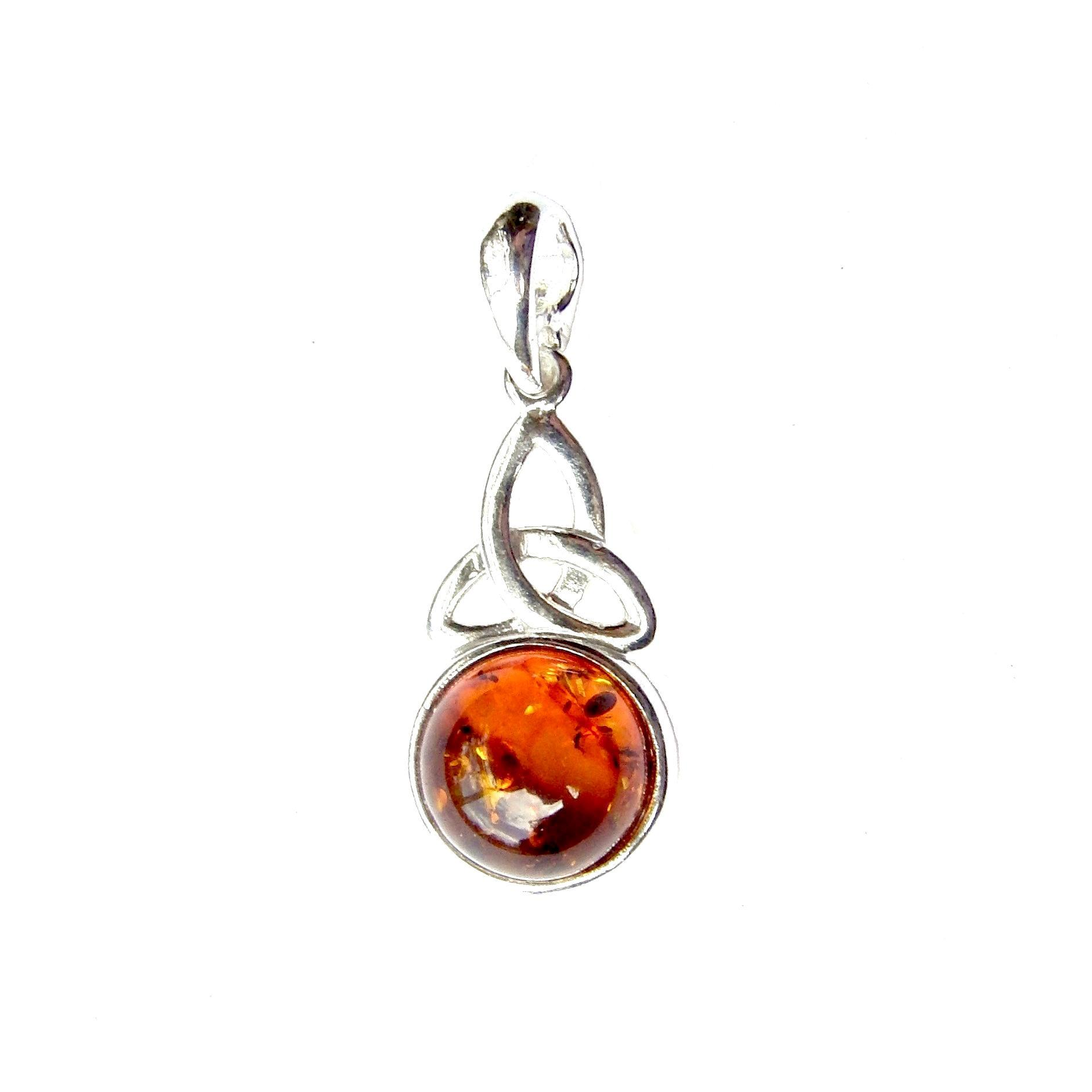 Beautiful Amber Goddess Triquetra Pendant
