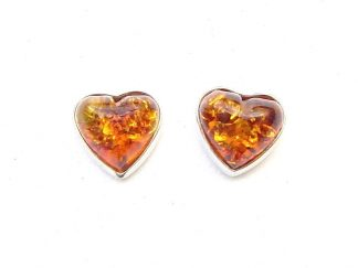 Stunning Amber Heart Studs