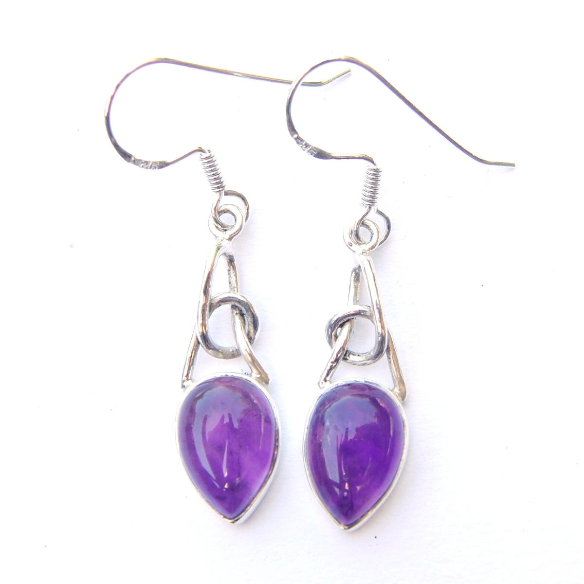 Amethyst Twisted Knot Earrings