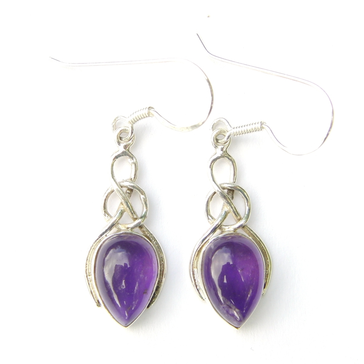 Amethyst Teardrop Knot Earrings.