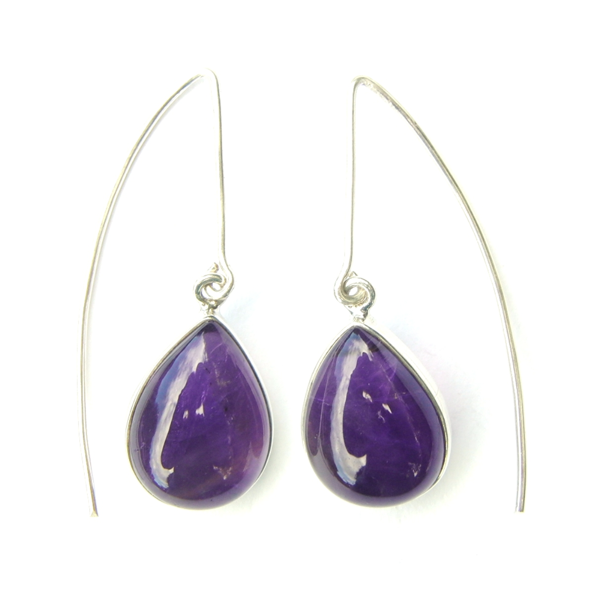 Amethyst Long Hook Earrings