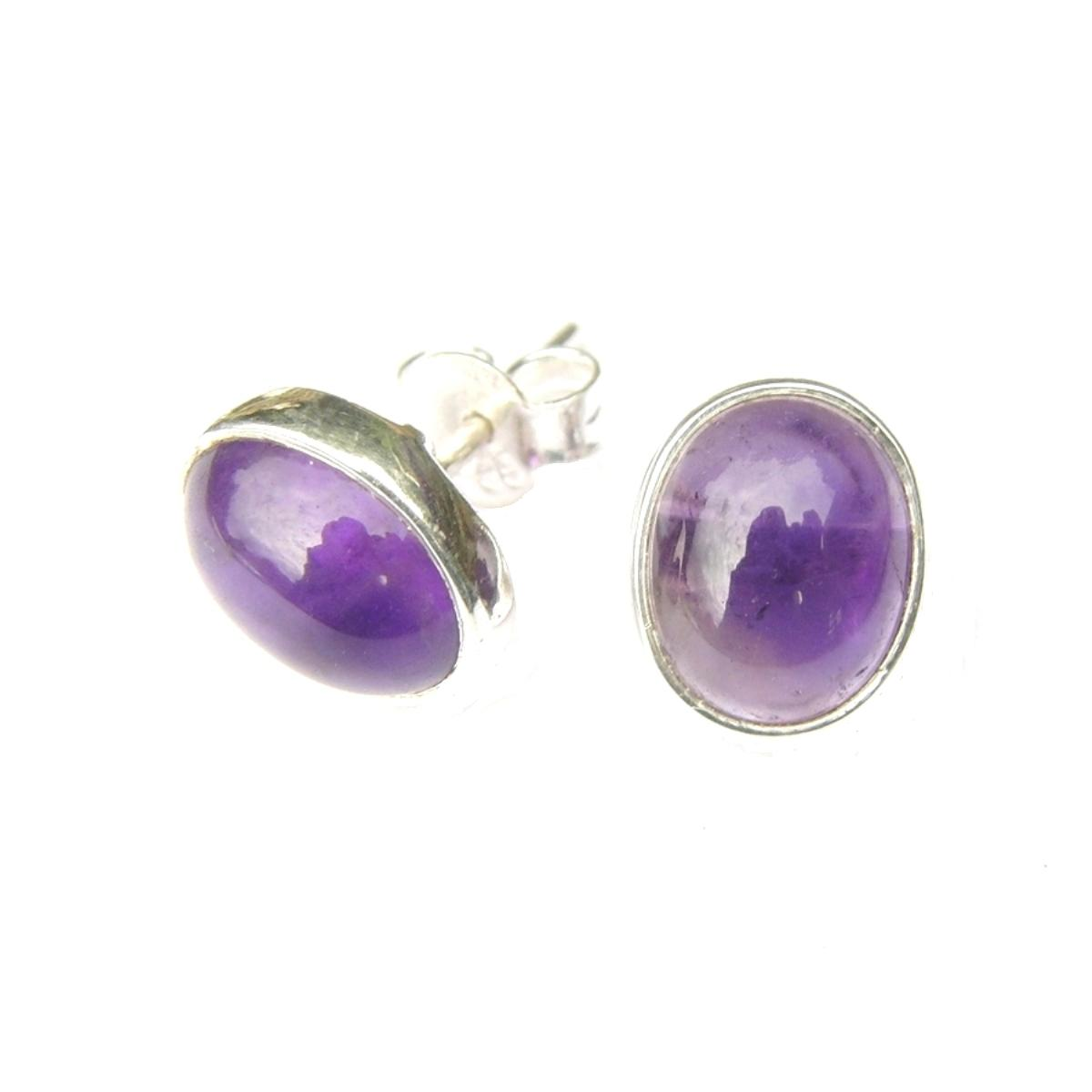 Amethyst Large Oval Studs