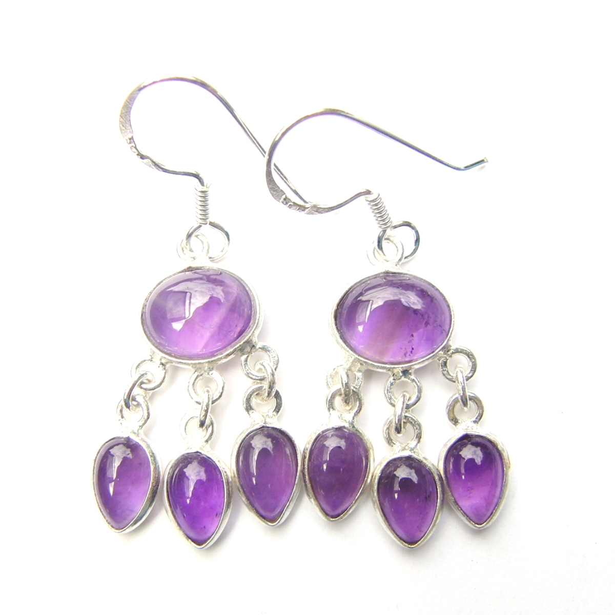 Amethyst Triple Drop Earrings