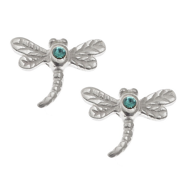 Blue Dragonfly Studs.