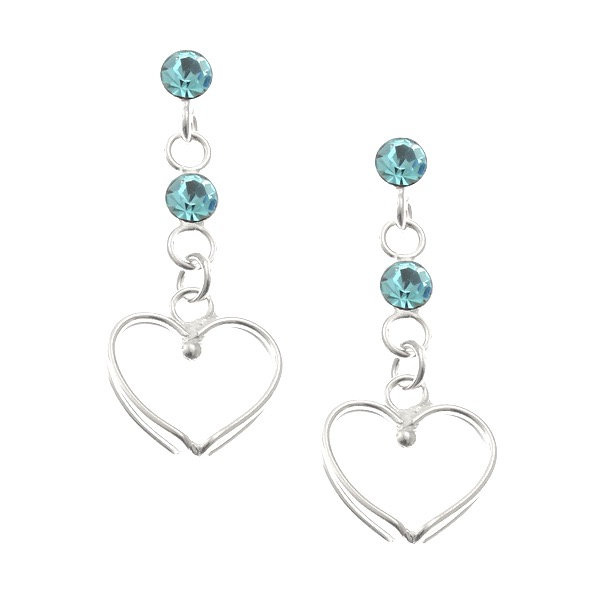 Blue Crystal Heart Studs