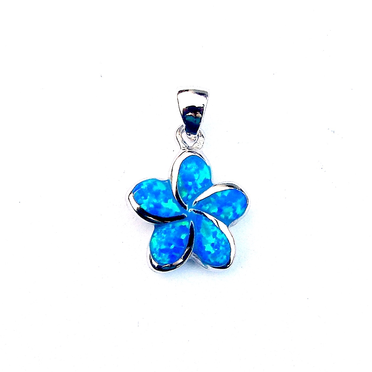 Beautiful Blue Opal Flower Pendant