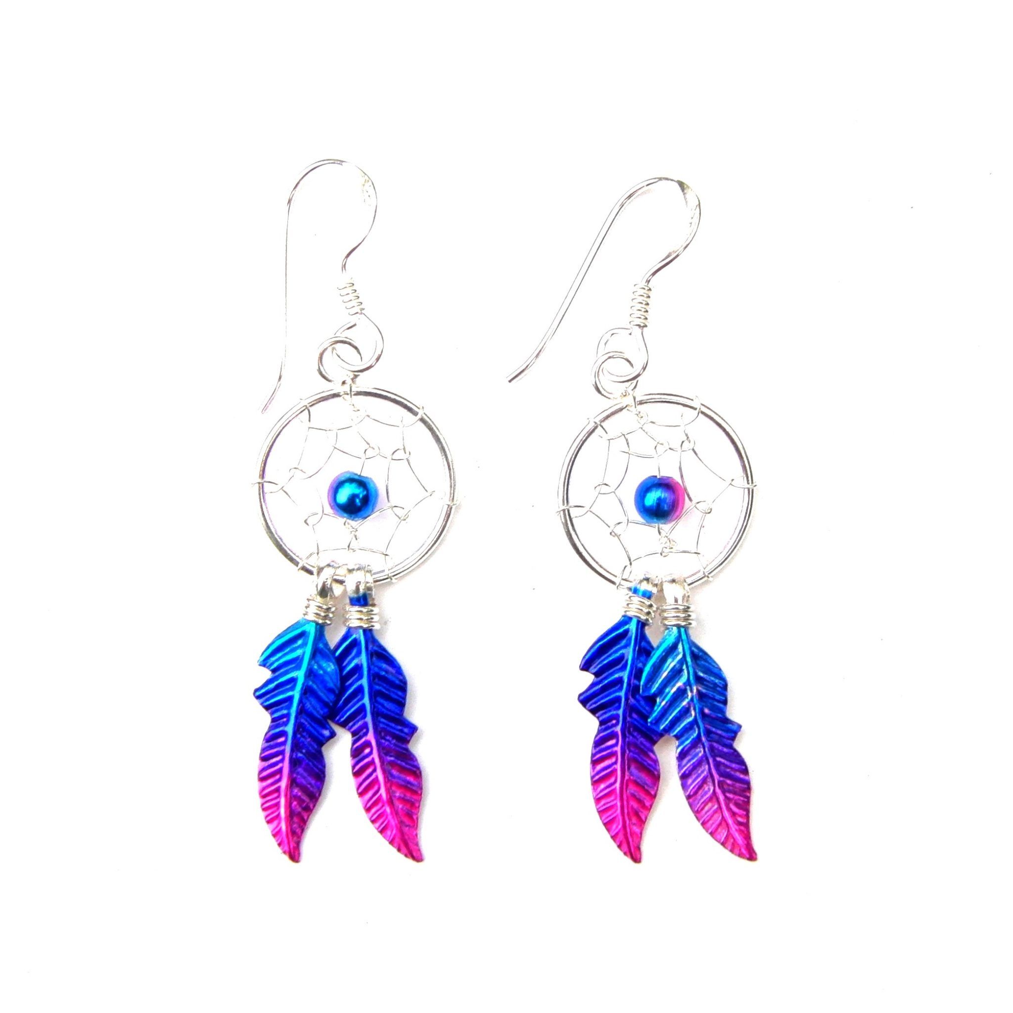 Beautiful Dainty Magenta Dreamcatcher Earrings