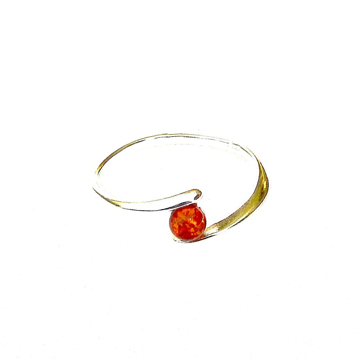 Beautiful Dainty Silver Amber Ring