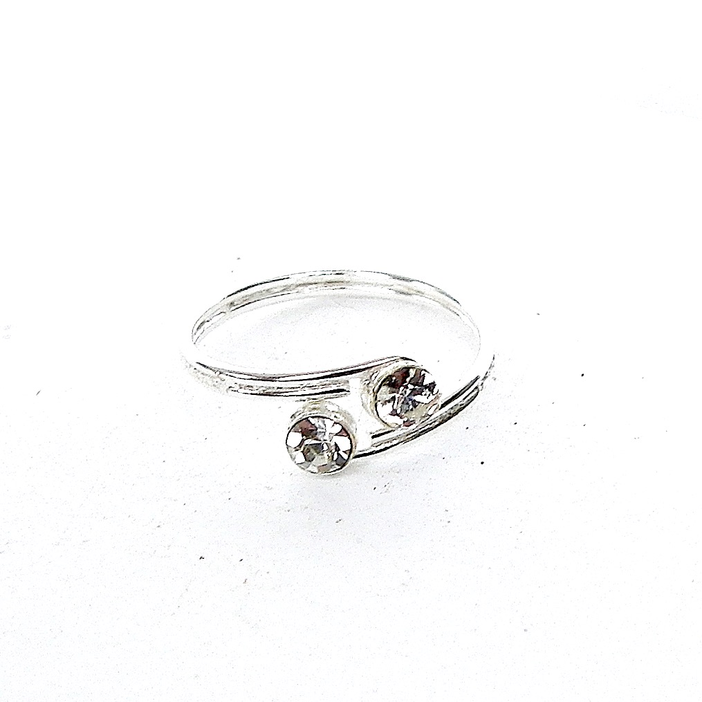 Beautiful Double Crystal Toe Ring