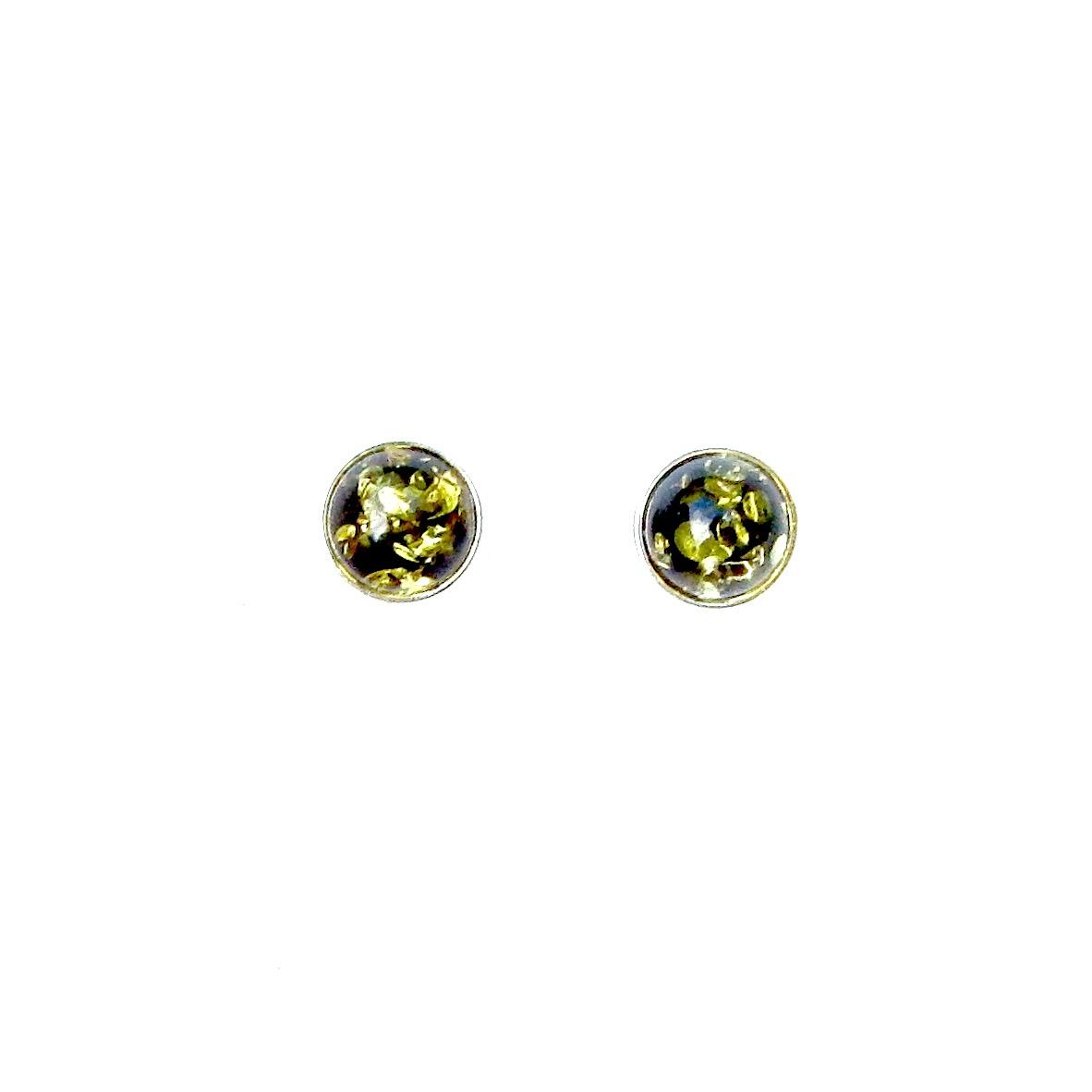 Beautiful Green Amber Round Studs