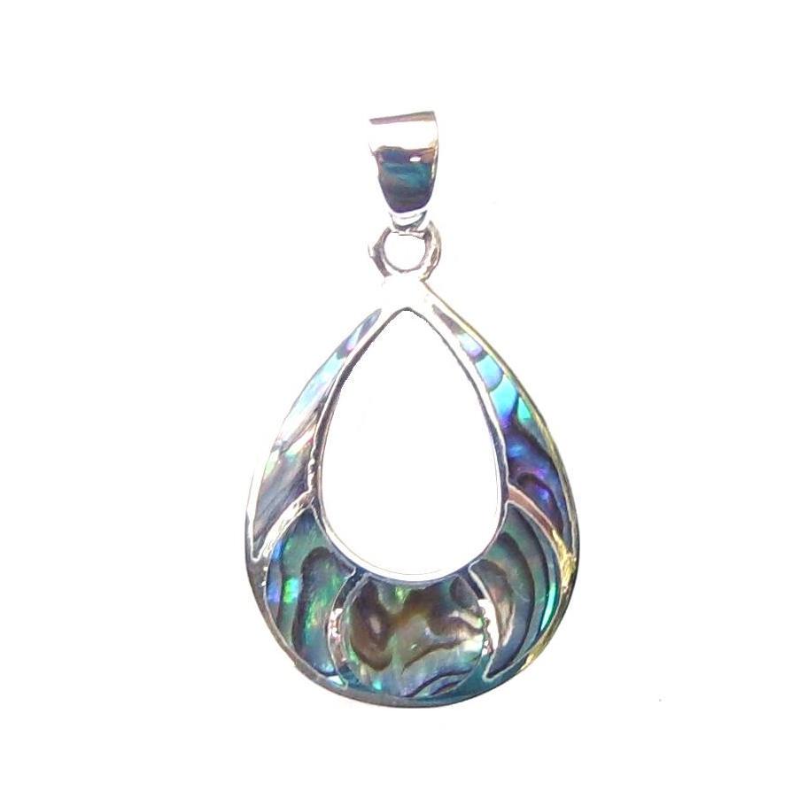 Beautiful Large Abalone Silver Pendant