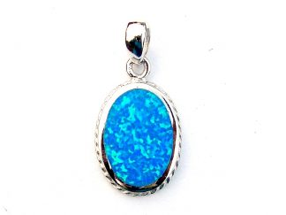 Beautiful Decorative Blue Opal Oval Pendant