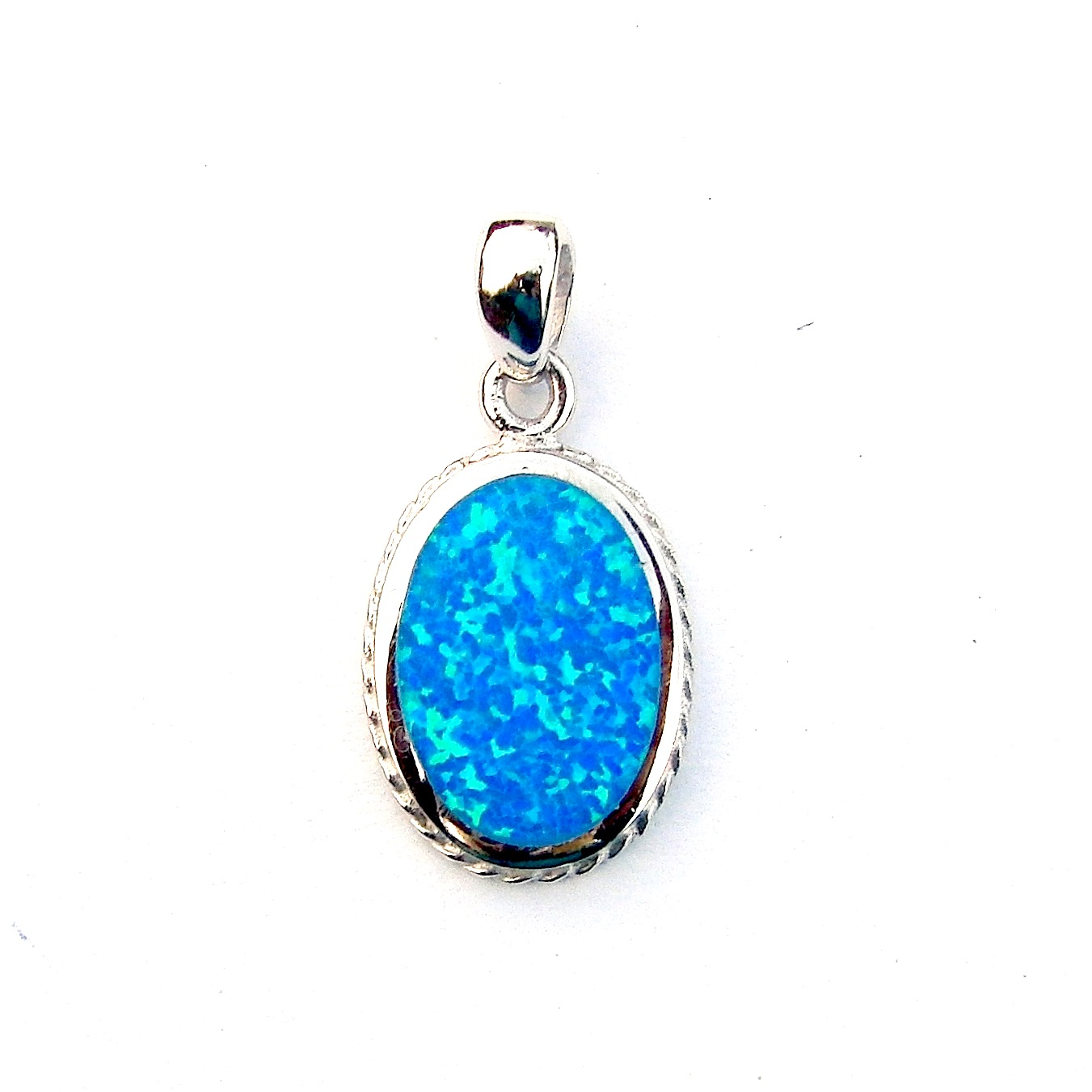 Beautiful Decorative Blue Opal Oval Pendant