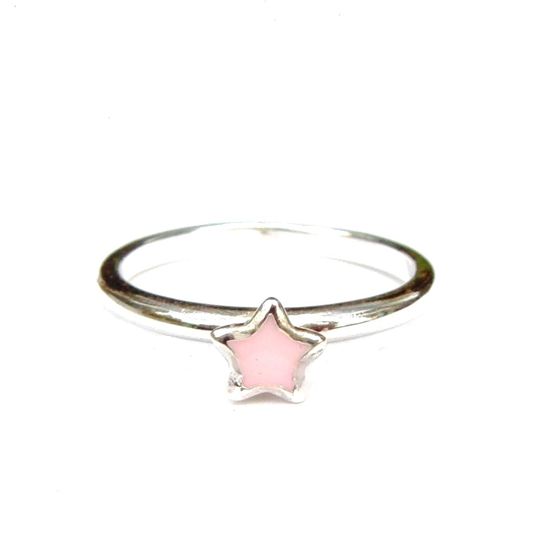 Beautiful Pink Star Silver Stacking Ring