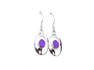 Beautiful Purple Oval Outline Earrings