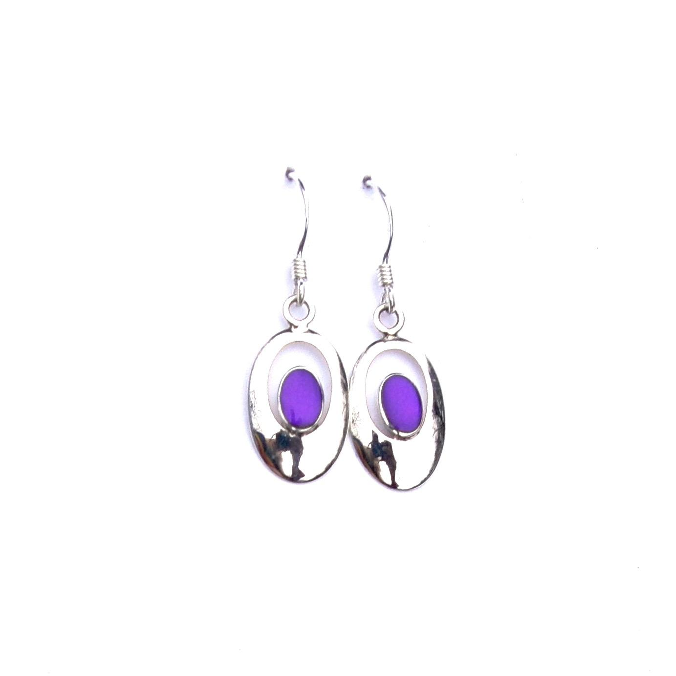 Beautiful Purple Oval Outline Earrings