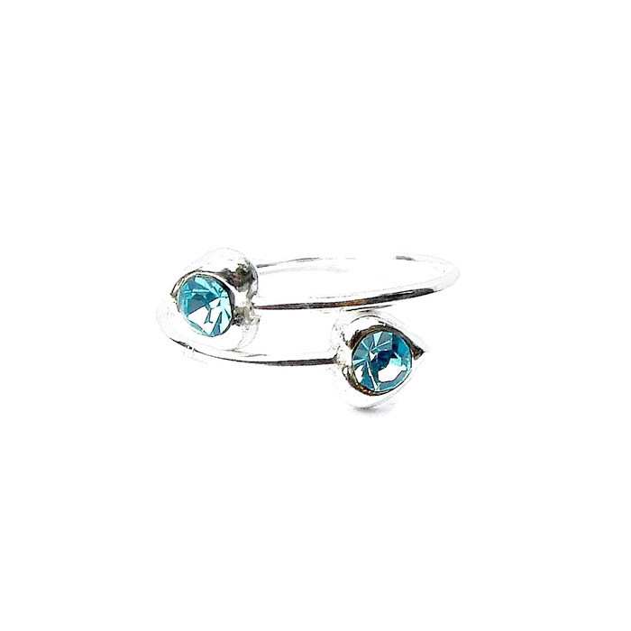 Beautiful Turquoise Crystal Hear Toe Ring