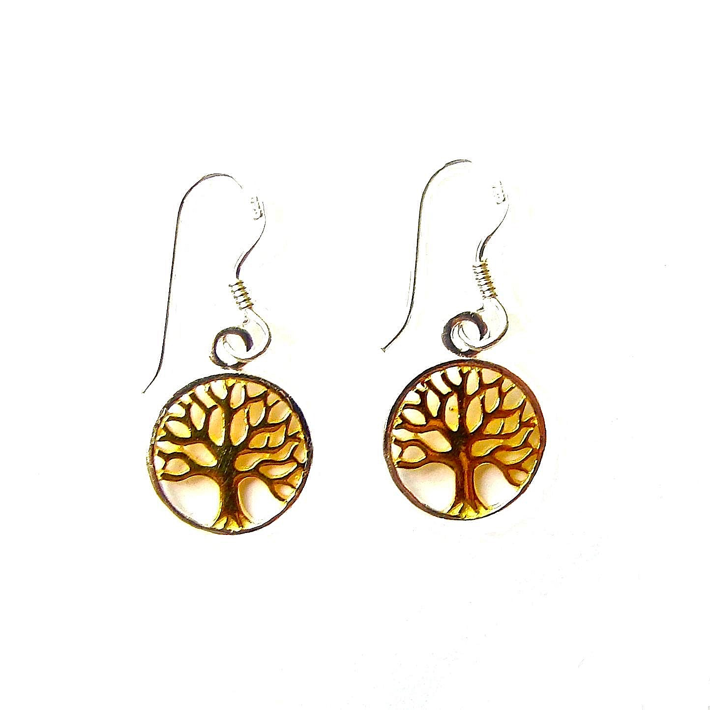 Beautiful Two Tone Tree of Life Earrings