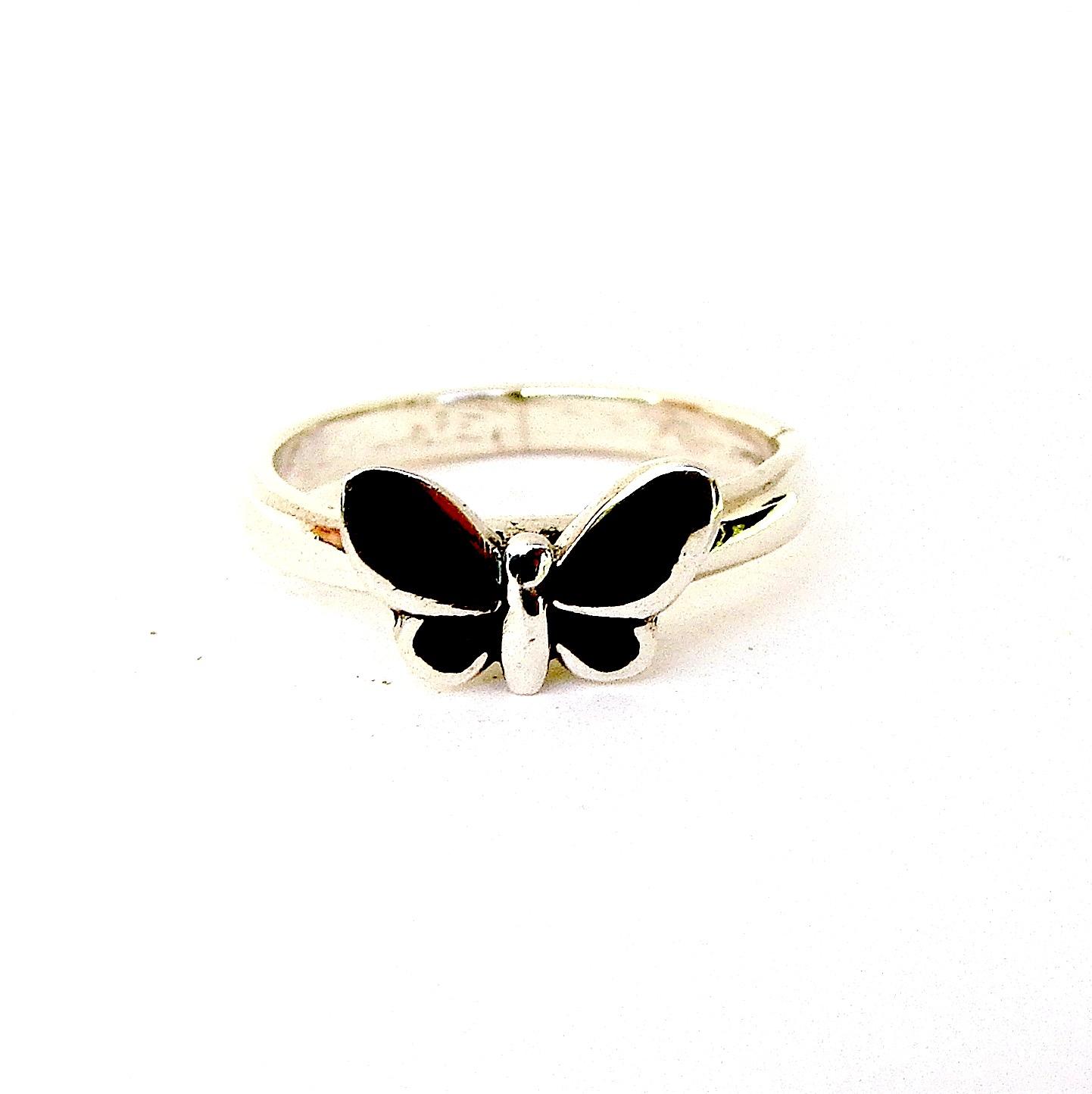 Pretty Black Enameled Butterfly Silver Ring
