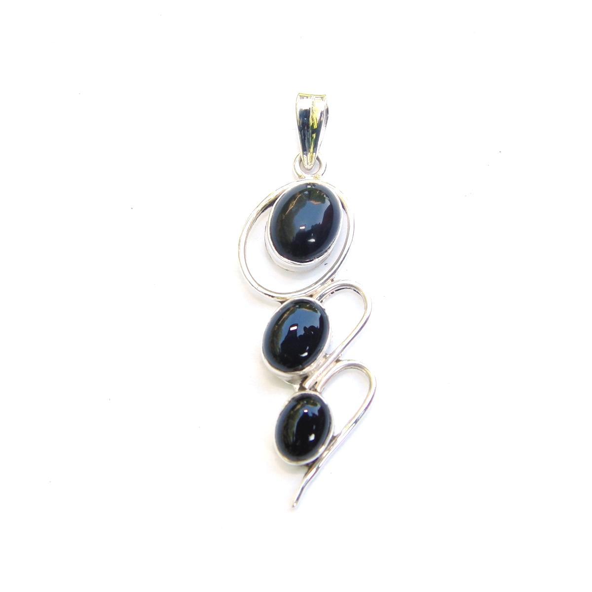 Black Onyx Triple Drop Pendant.