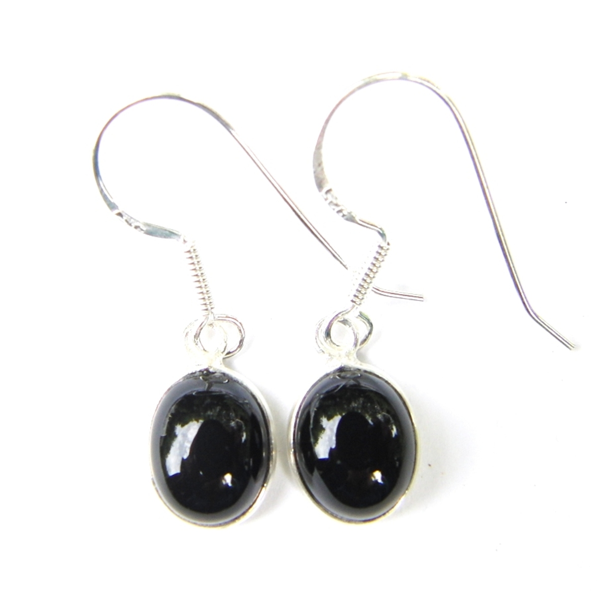 Black Onyx Dainty Oval Earrings