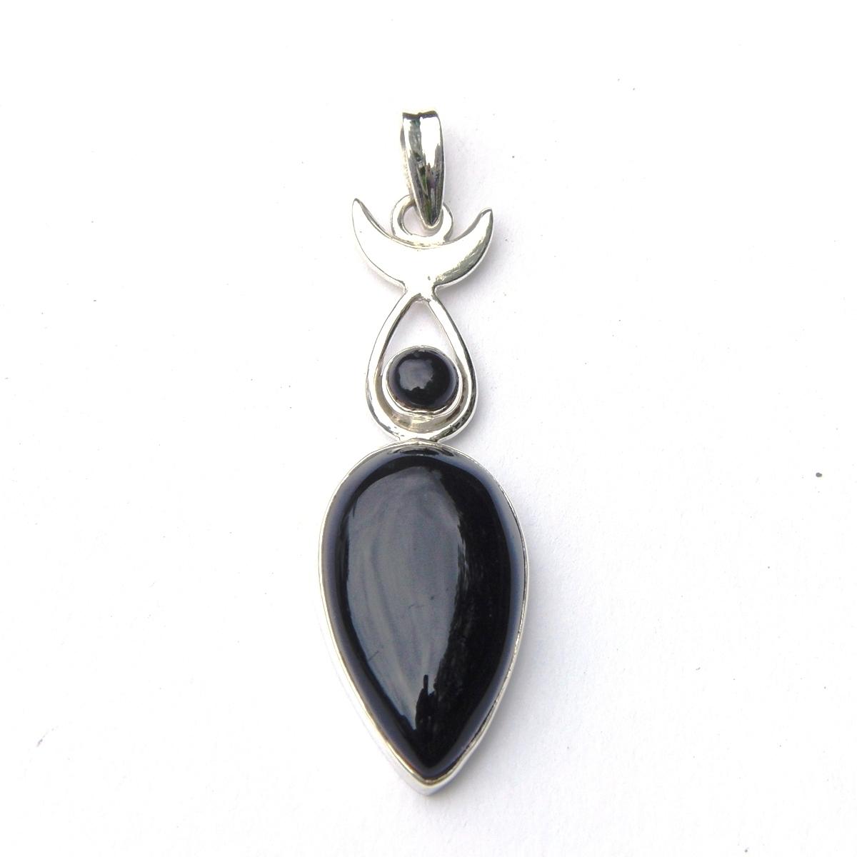 Black Onyx Moon Goddess Pendant.