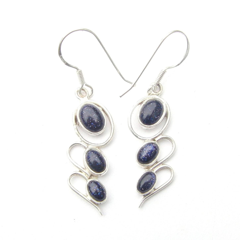 Blue Goldstone 3 Cab Earrings
