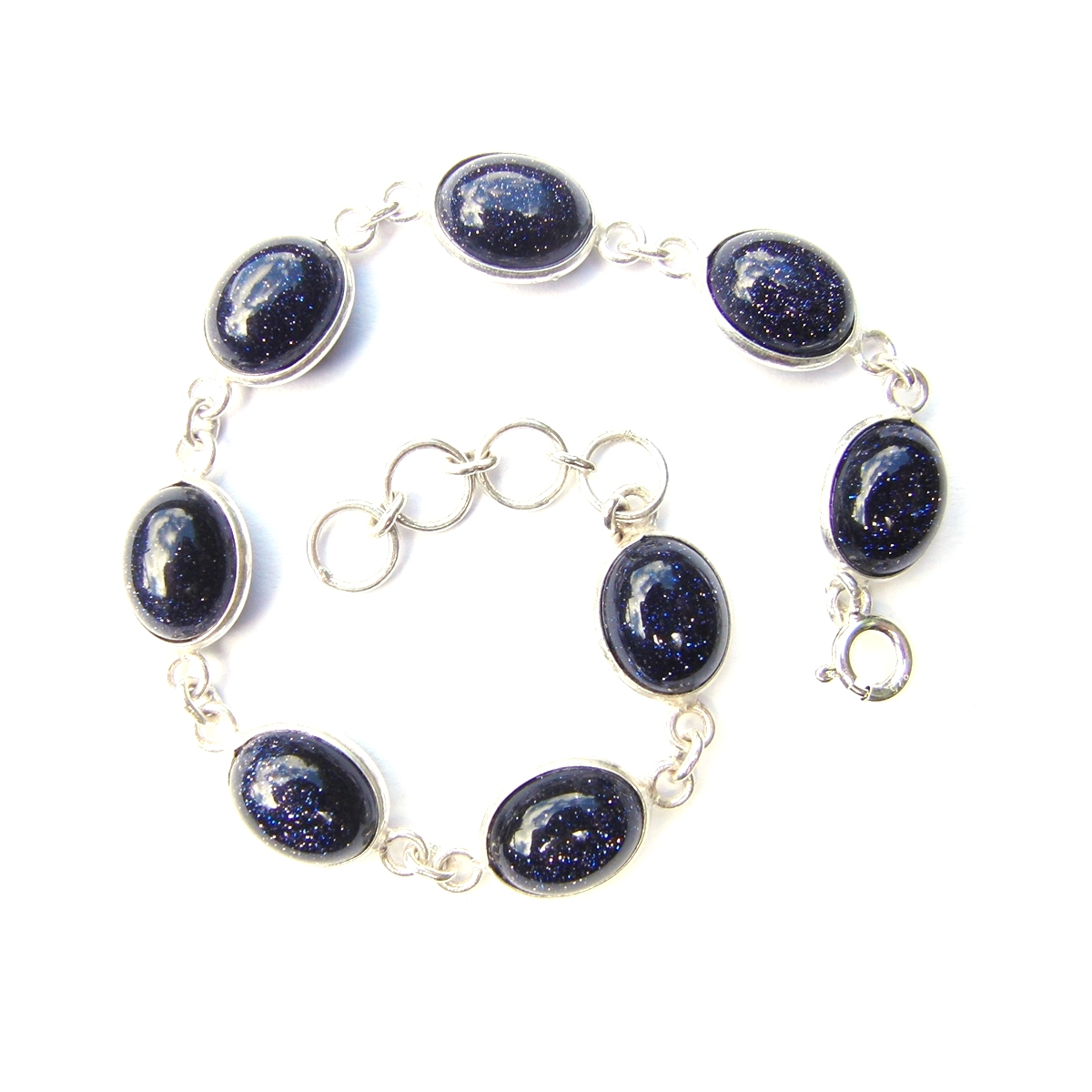 Blue Goldstone Oval Bracelet.