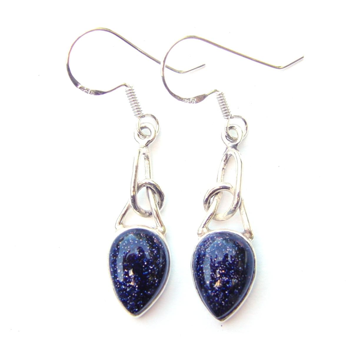 Blue Goldstone Knot Earrings