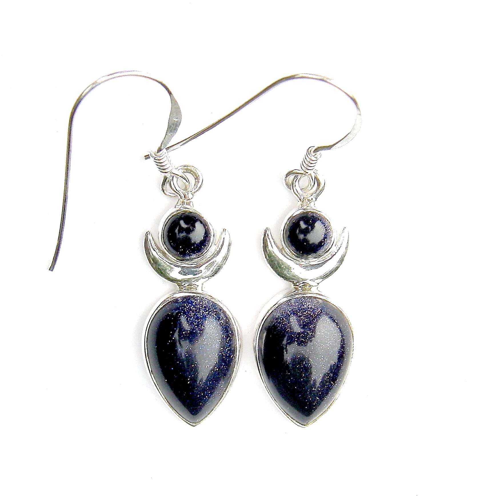 Blue Goldstone Large Goddess Earrings.