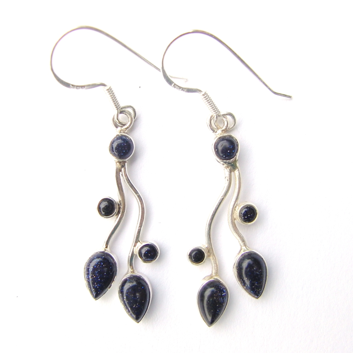 Blue Goldstone Multi Cab Earrings