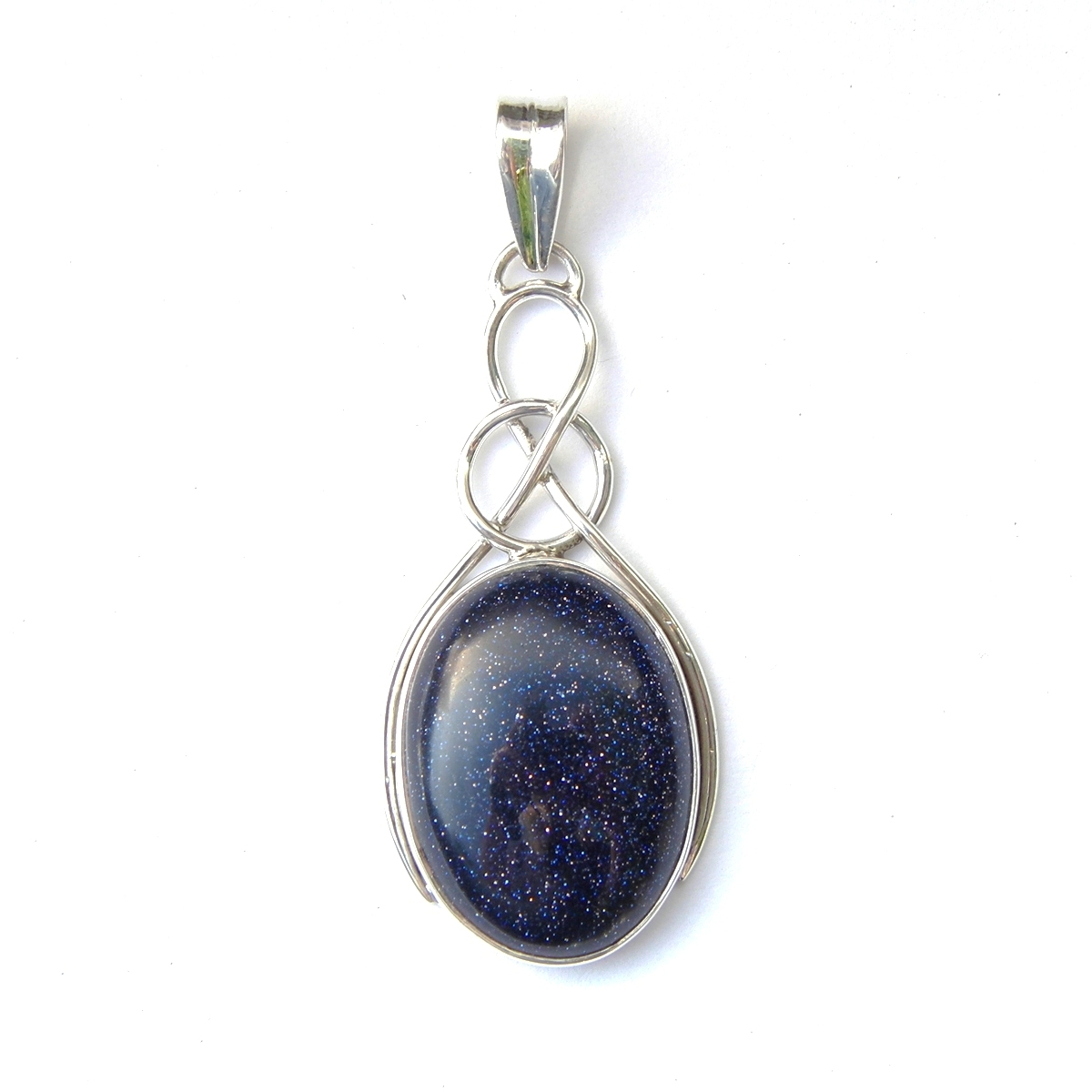 Blue Goldstone Oval Knot Pendant