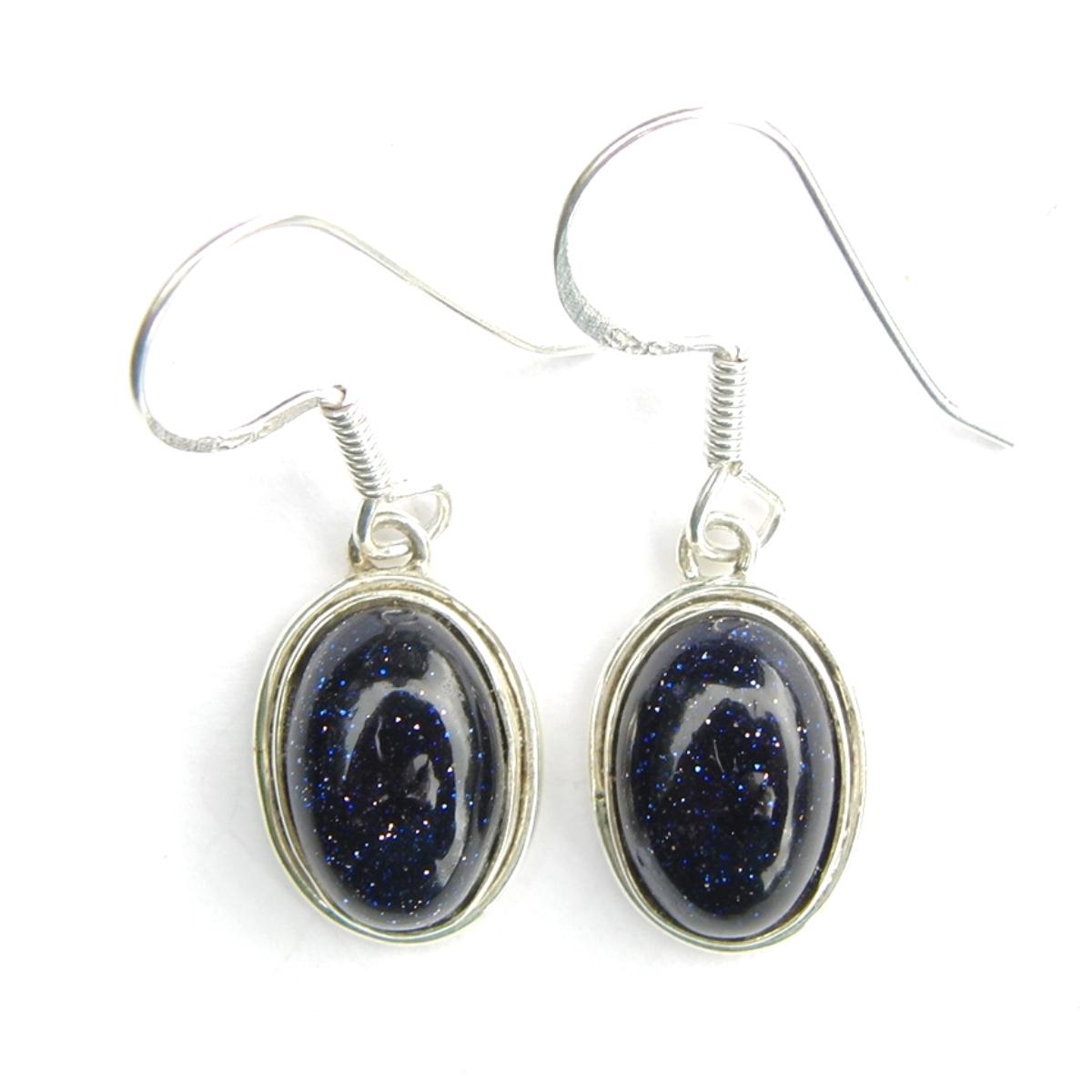 Blue Goldstone Oval Cab Earrings