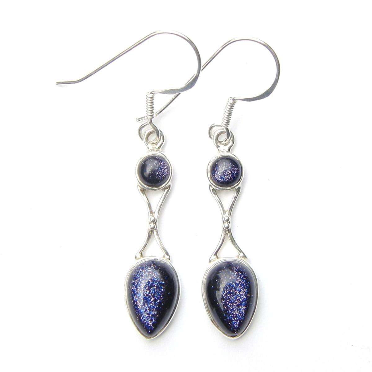 Blue Goldstone Goddess Earring