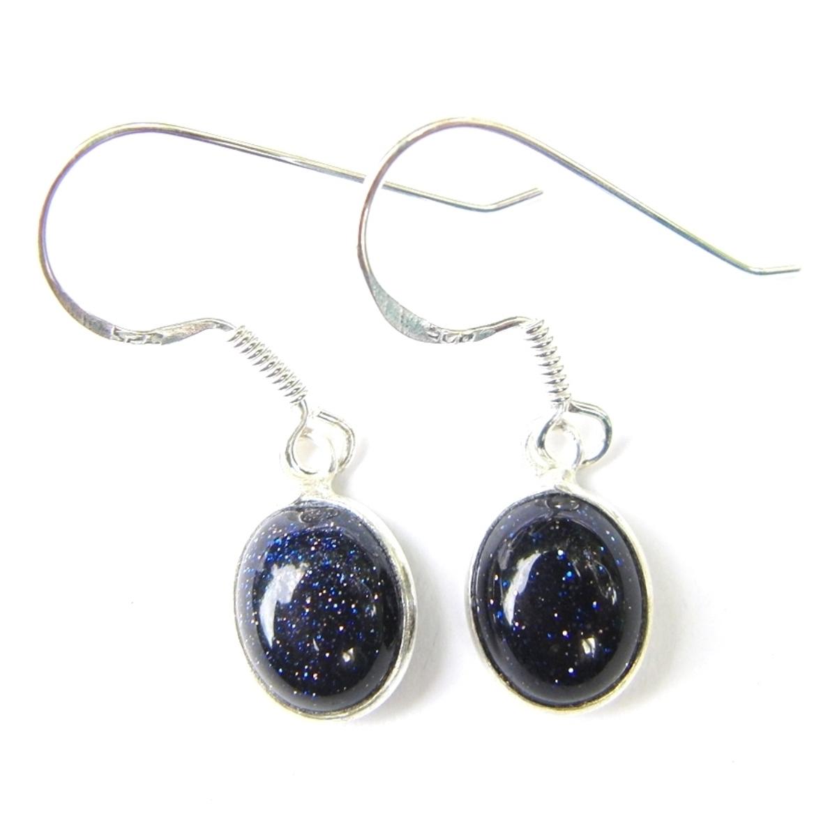 Blue Goldstone Dainty Earrings