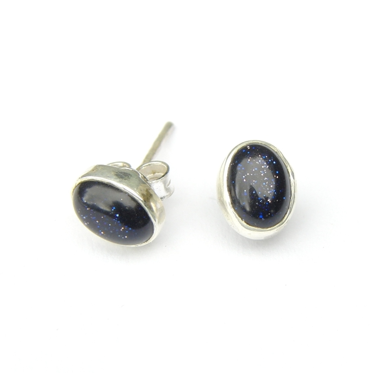 Blue Goldstone Small Oval Studs