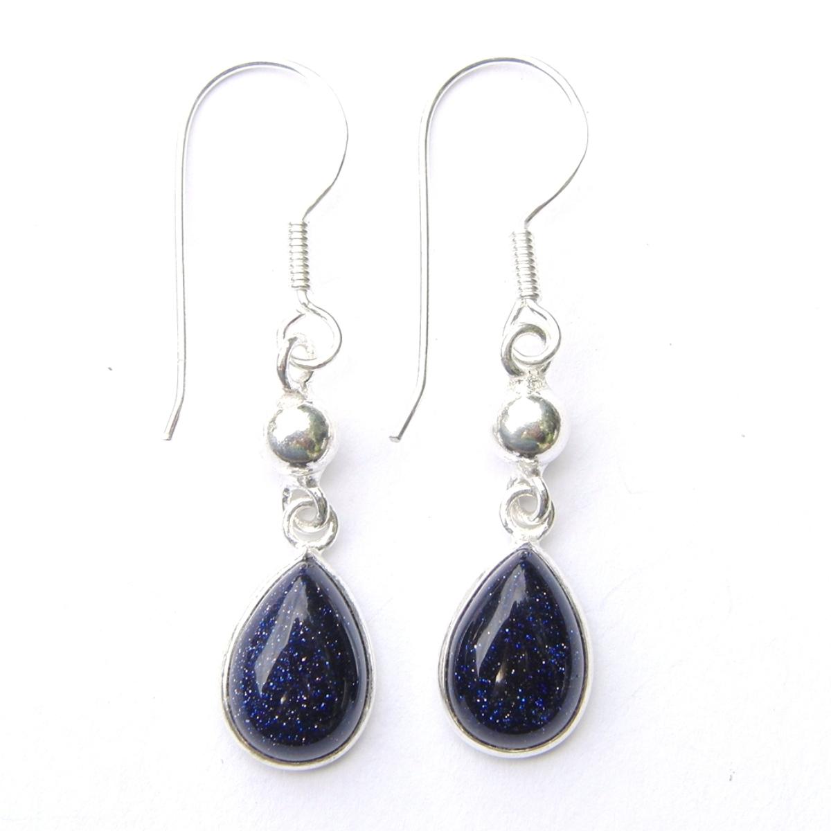 Blue Goldstone Dangling Earrings