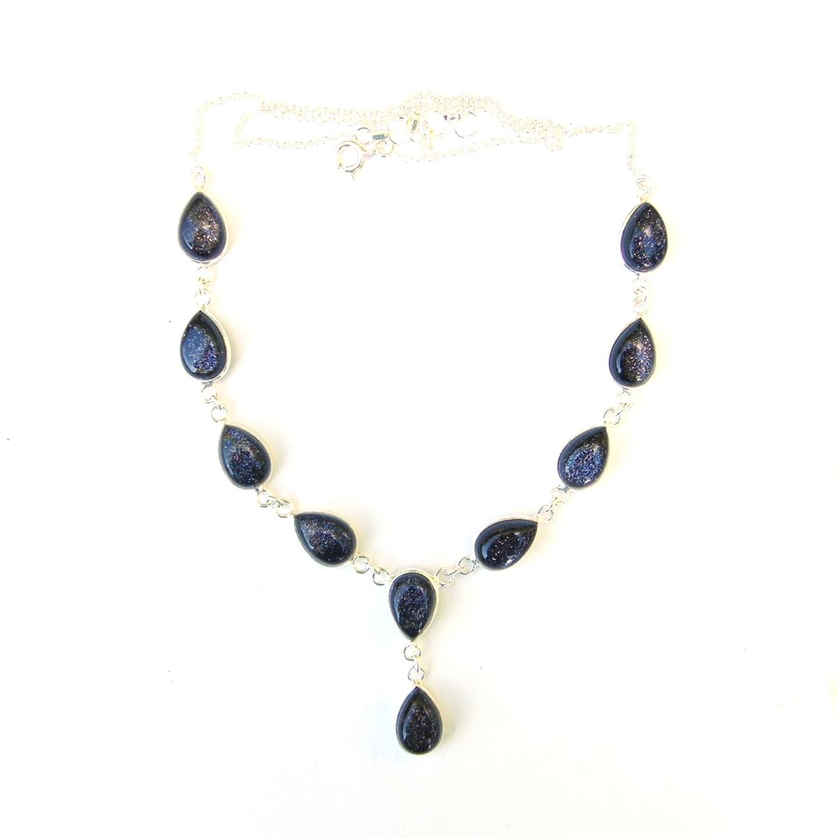 Blue Goldstone Teardrop Necklace