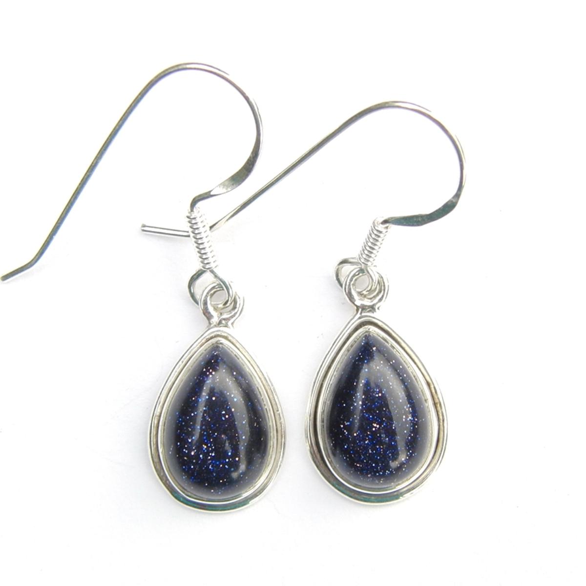 Blue Goldstone Med Teardrop Earrings.