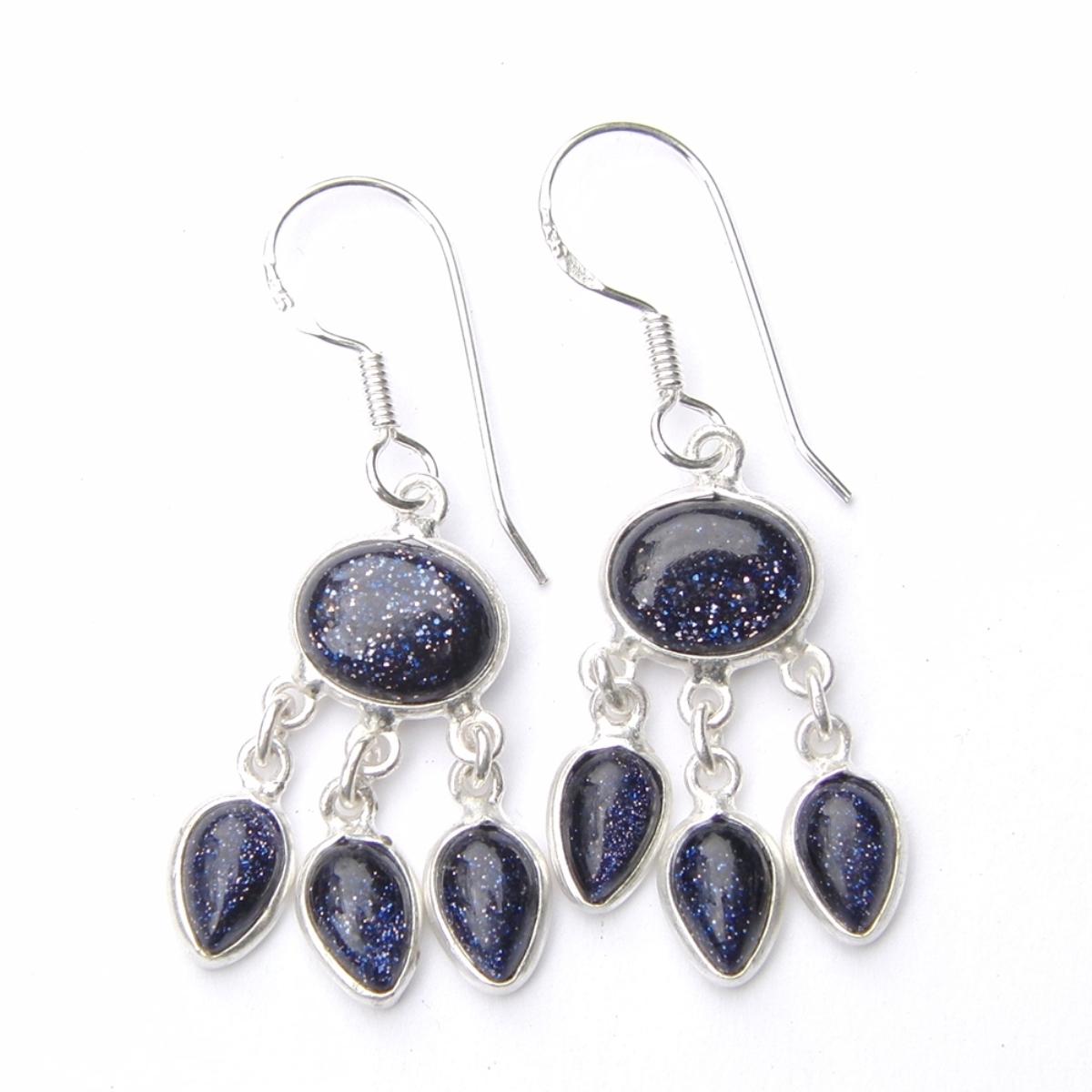 Blue Goldstone Triple Earrings