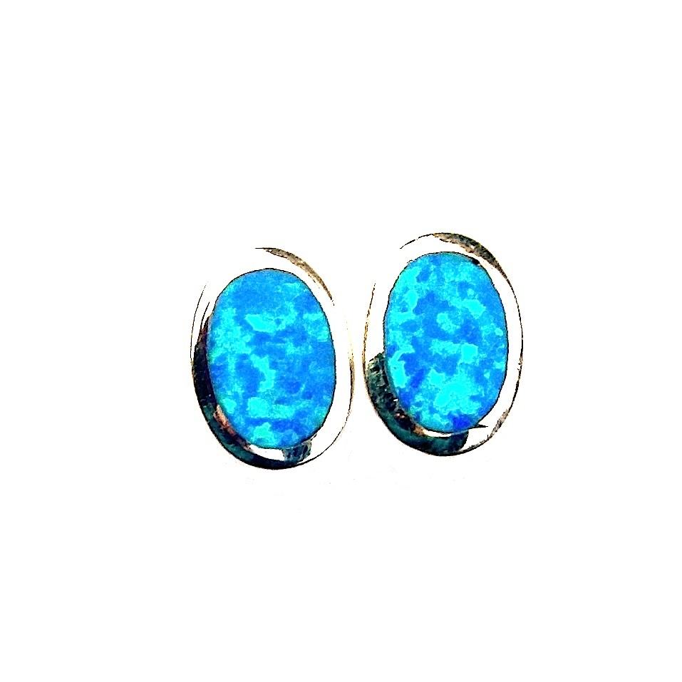 Stunning Large Blue Opal Oval Studs