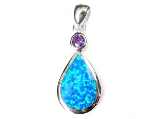 Beautiful Blue Opal Large Teardrop Pendant